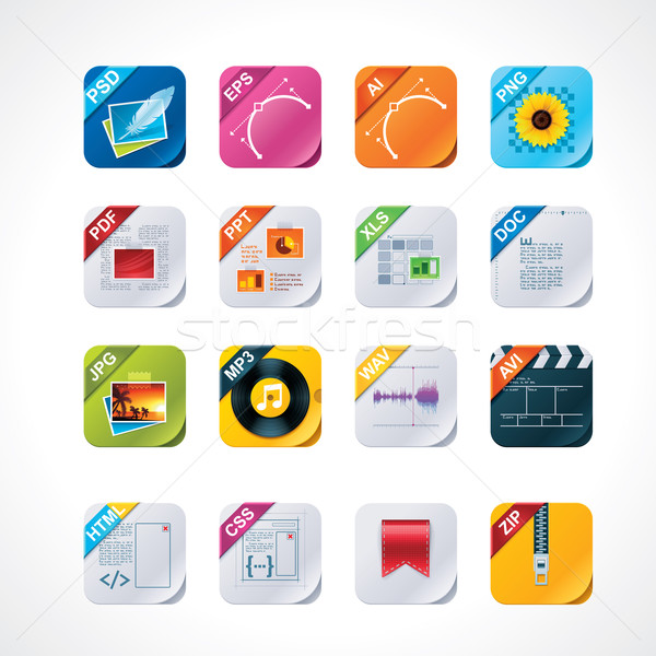 Square file labels icon set Stock photo © tele52