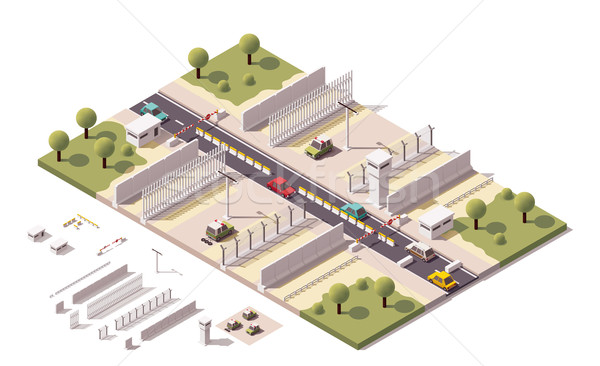 Stok fotoğraf: Vektör · izometrik · sınır · örnek · güvenlik · ekipmanları · araba
