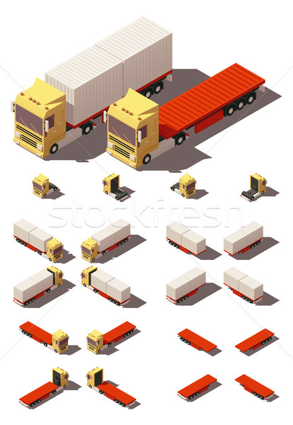 Vector isometric truck with container semi-trailer icon set Stock photo © tele52