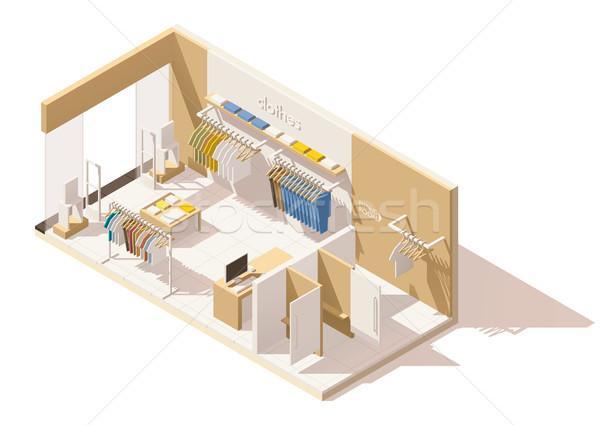 Vektor izometrikus alacsony ruházat bolt ikon Stock fotó © tele52