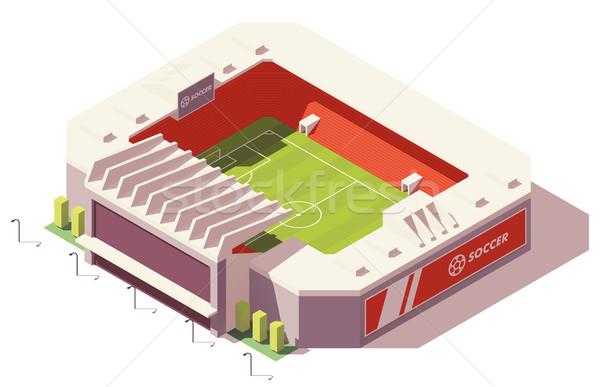 Stok fotoğraf: Vektör · izometrik · düşük · futbol · stadyum · futbol