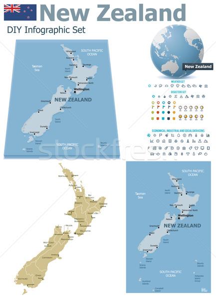 Nueva Zelandia mapas establecer político símbolos infografía Foto stock © tele52