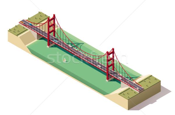 вектора изометрический висячий мост реке автомобилей дороги Сток-фото © tele52