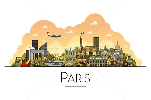 Vektor vonal művészet Párizs Franciaország utazás Stock fotó © tele52