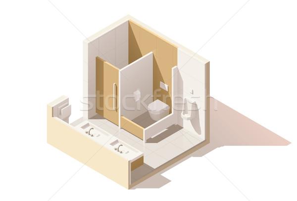 вектора изометрический низкий общественного туалет икона Сток-фото © tele52