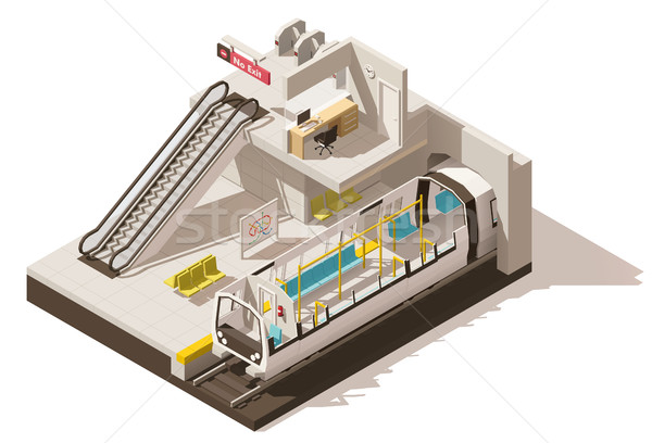Vector isometric low poly subway station cutaway Stock photo © tele52