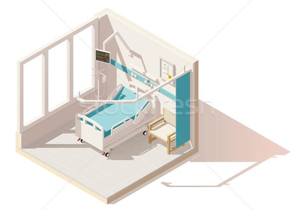 Foto d'archivio: Vettore · isometrica · basso · ospedale · letto · di · ospedale · frequenza · cardiaca
