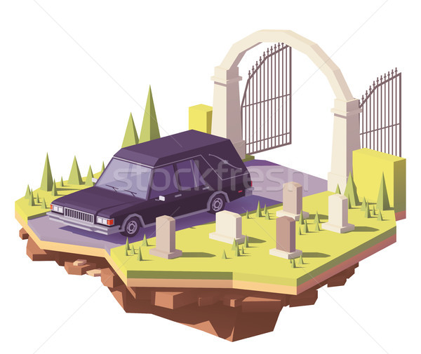 Vector low poly funeral hearse car Stock photo © tele52