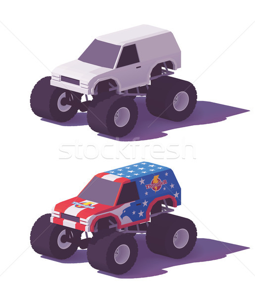 Vector low poly monster truck Stock photo © tele52