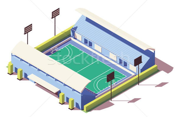 Vector isometric low poly field hockey stadium Stock photo © tele52