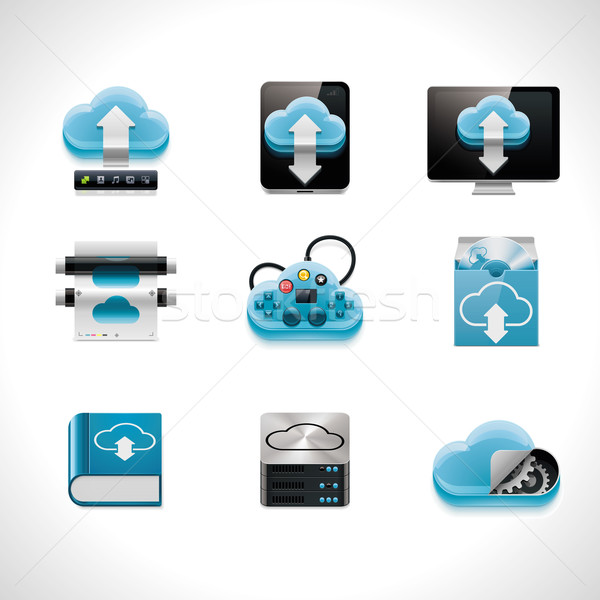 Stock photo: Vector cloud computing icon set