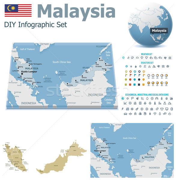 Stock photo: Malaysia maps with markers