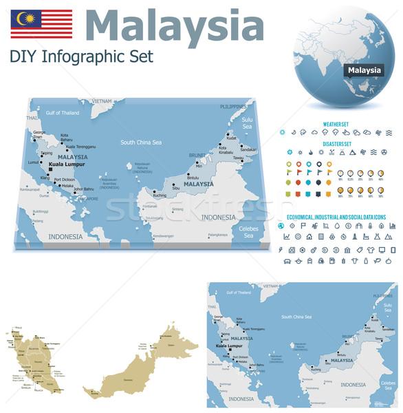 Malezya haritaları ayarlamak siyasi semboller Stok fotoğraf © tele52
