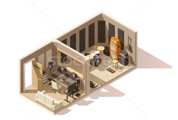Vector isometric low poly recording studio icon Stock photo © tele52