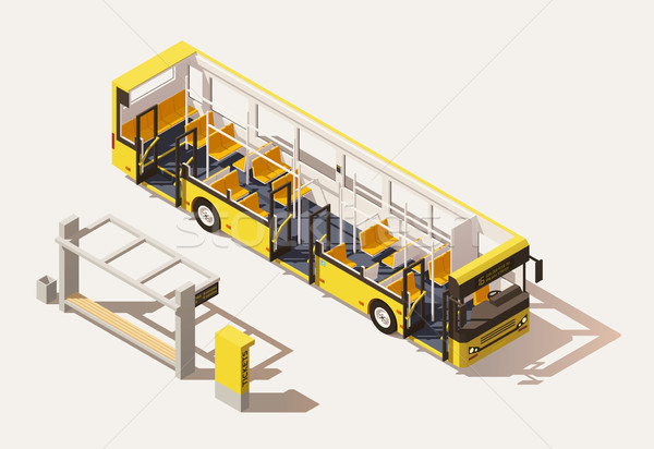 Vector isometric low poly bus cross-section Stock photo © tele52