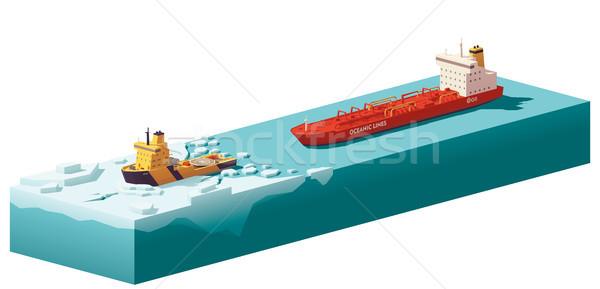 Vector low poly icebreaker breaking the ice Stock photo © tele52