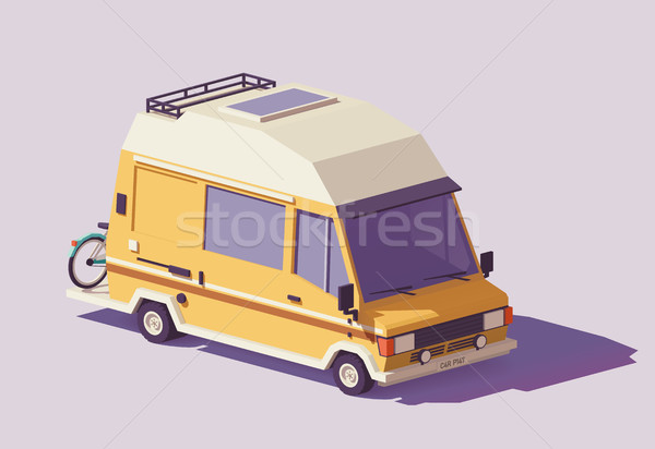 Vector low poly RV camper van Stock photo © tele52