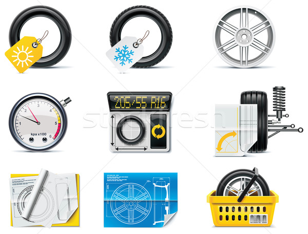 Car service icons. Part 1. Tires Stock photo © tele52