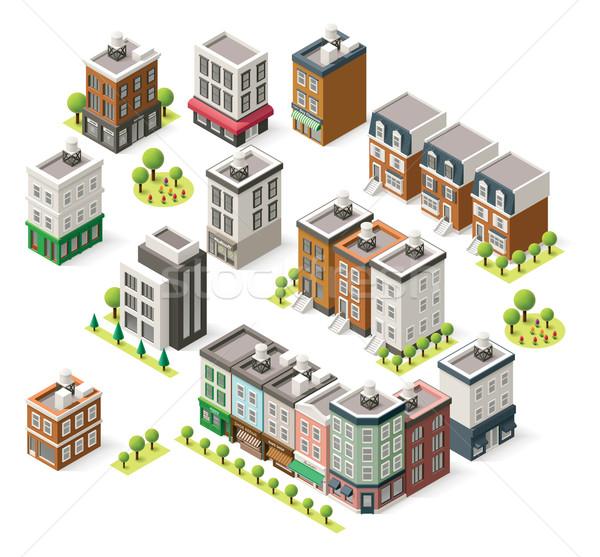Stock photo: Vector isometric city buildings set
