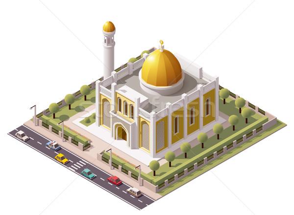 Сток-фото: вектора · изометрический · мечети · здании · икона · дома