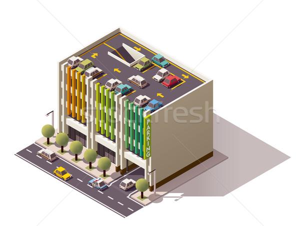 Vector isometric car park Stock photo © tele52
