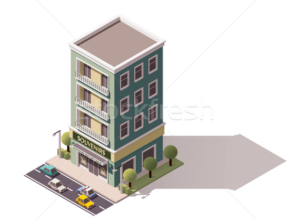 Сток-фото: вектора · изометрический · сувенир · магазине · икона · здании