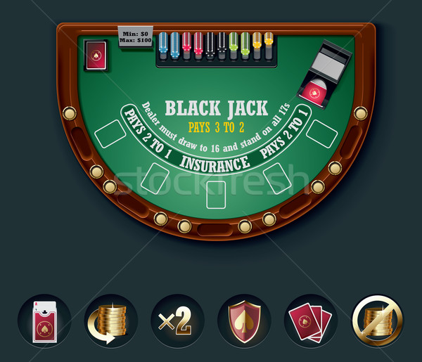 Vecteur blackjack table layout détaillée noir Photo stock © tele52