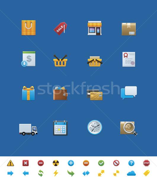 Vettore sito icone shop set luminoso Foto d'archivio © tele52