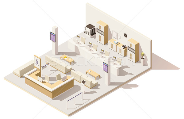 Vector isometric low poly queue management system Stock photo © tele52