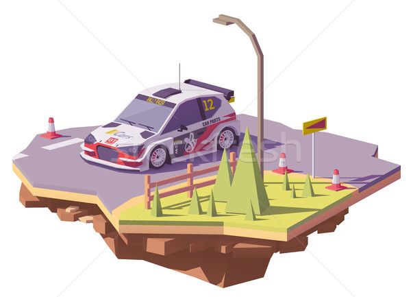 Vector low poly rally racing car Stock photo © tele52
