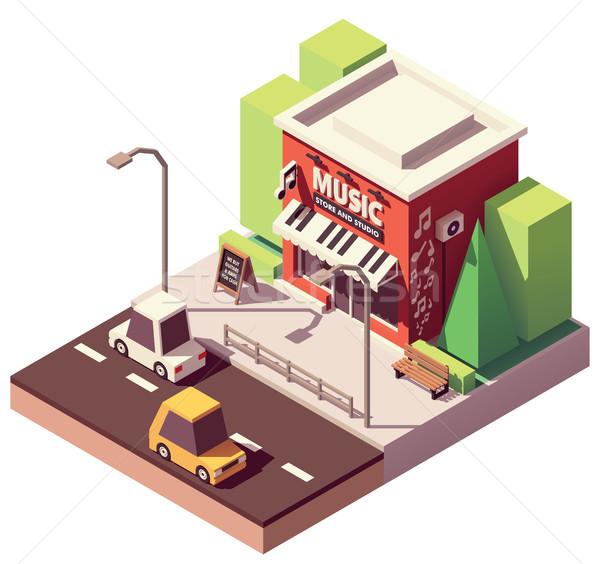 вектора изометрический музыкальный инструмент магазине музыку здании Сток-фото © tele52