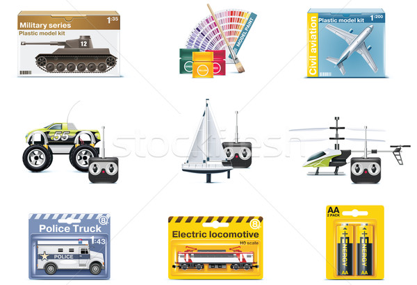 Vector toy icons. Teenager toys Stock photo © tele52