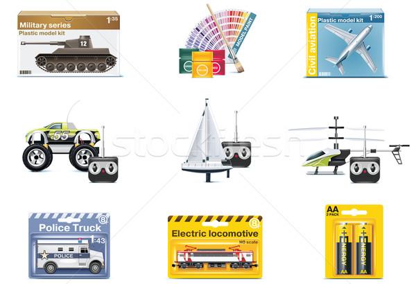 Foto stock: Vetor · brinquedo · ícones · adolescente · brinquedos · conjunto