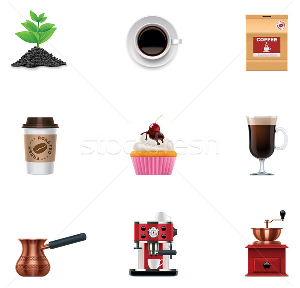 Vector coffee icon set Stock photo © tele52