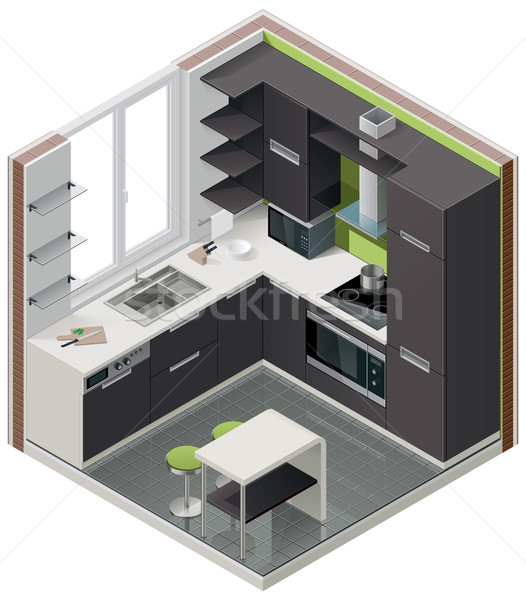 Vector isometric kitchen icon Stock photo © tele52
