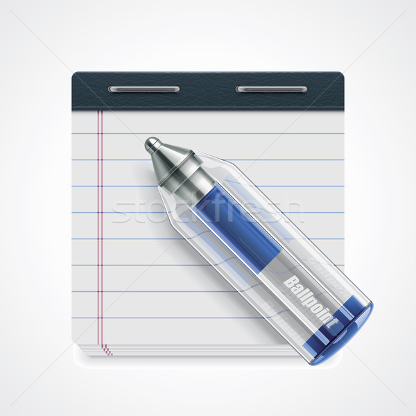 Vector pen and notepad icon Stock photo © tele52