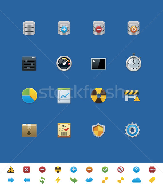 Vector common website icons. Database  Stock photo © tele52