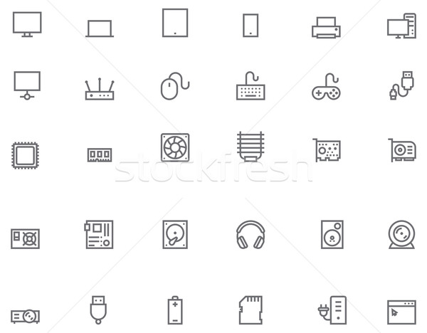 Computer icon set Stock photo © tele52