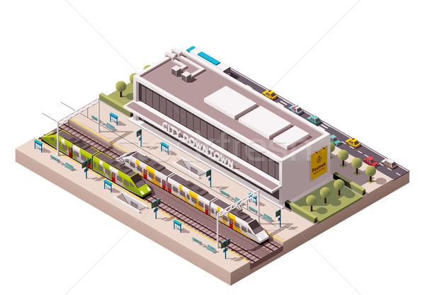 Vector isometric train station  Stock photo © tele52