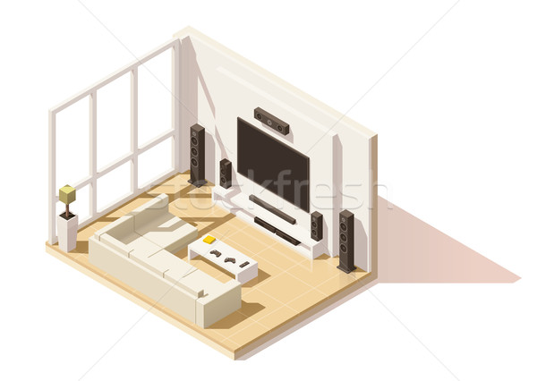 Vector isometric low poly living room icon Stock photo © tele52