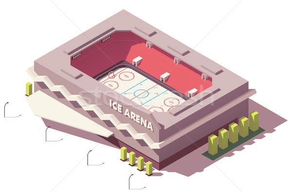 Vektor izometrikus alacsony jégkorong pálya stadion Stock fotó © tele52