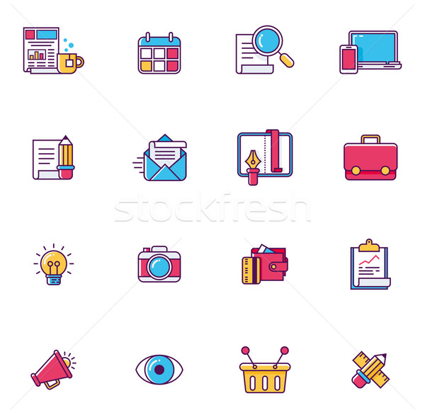 Vector linear universal web page symbols Stock photo © tele52