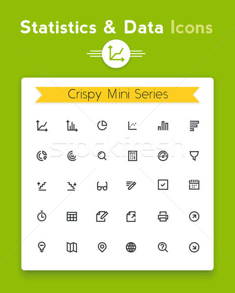 Vector line statistics data analysis and representation tiny icon set. Minimalistic crisp contour ic Stock photo © tele52