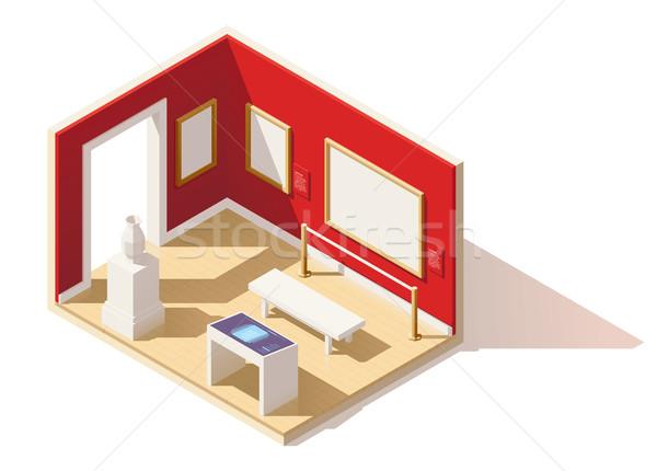 Vector isometric low poly museum interior Stock photo © tele52