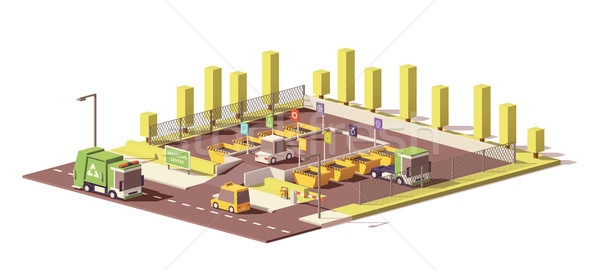 Vector low poly waste collection center Stock photo © tele52