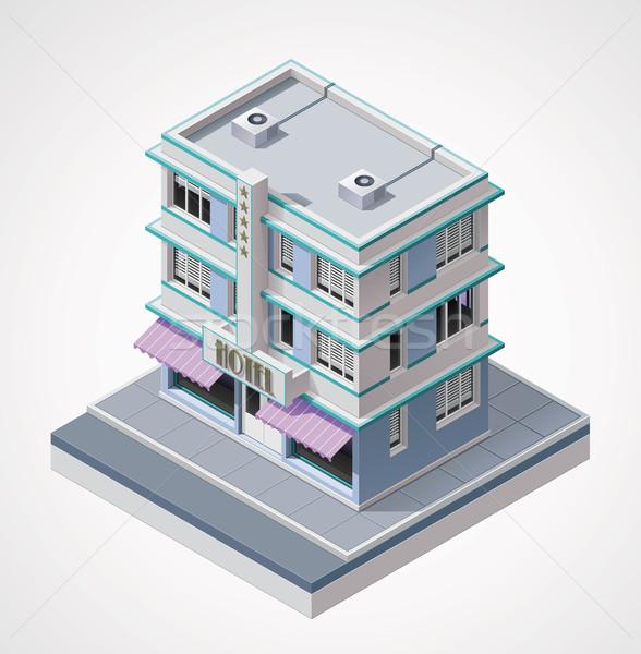 Сток-фото: вектора · изометрический · отель · подробный · икона · здании