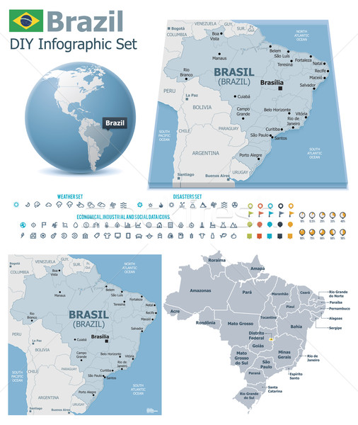 Stock photo: Federative Republic of Brazil maps with markers