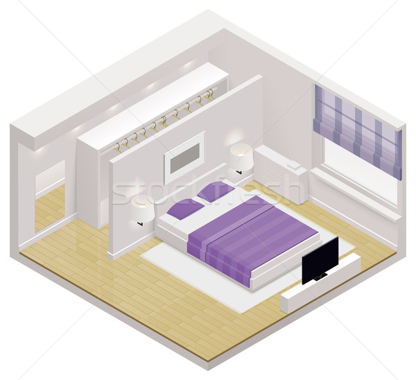 Vektor izometrikus hálószoba ikon részletes belső Stock fotó © tele52