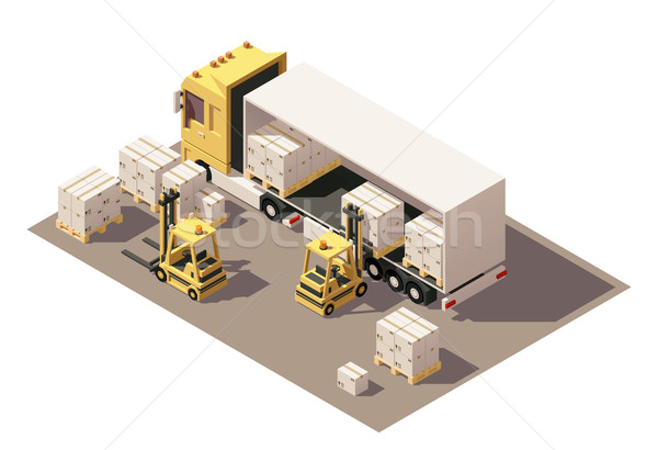 Vector isometric forklift loading box semi-trailer truck with crates on pallets icon Stock photo © tele52