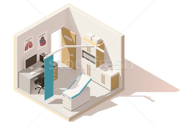 Vector isometric low poly doctors office icon Stock photo © tele52